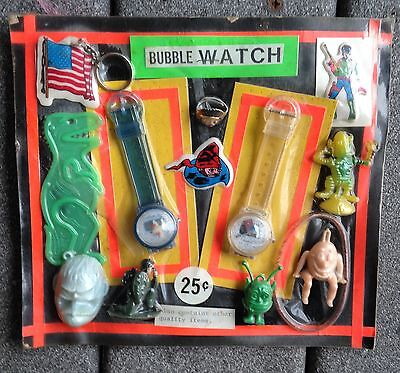 MARTIAN FINK Godzilla Bubble Watch Spaceman Gumball Machine Display Card vintage