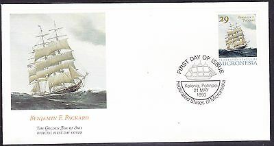 """Micronesia 1993 """"Benjamin F. Packard"""" Sailing Ship First Day Cover - Unaddressed"""