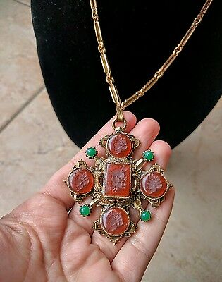50s Vintage Maltese Cross Necklace Pendant Chain Gold Tone Carved Cameo Romantic