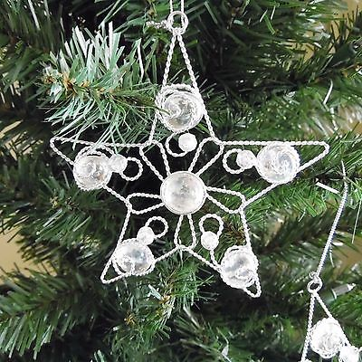 "set of 2 snowflake ornaments, elegant 5"" metal and glass"