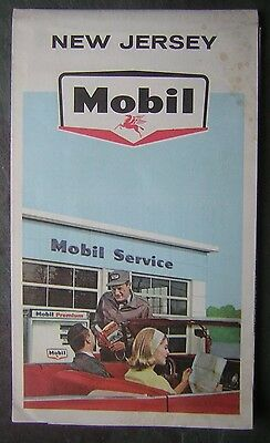 c.1970's New Jersey State - Mobil Service Road Map