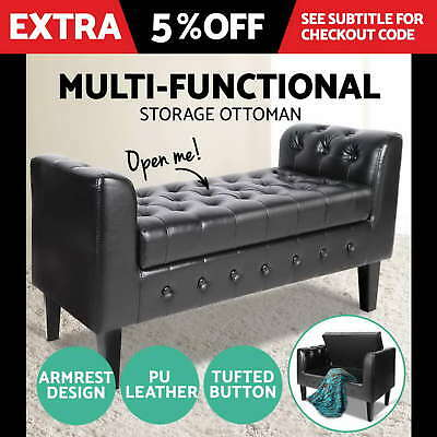 Blanket Box Storage Ottoman PU Leather Bed Foot Stool Chest Toy Bench BLACK