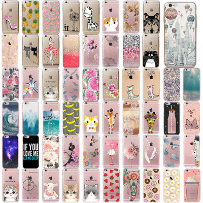 New Clear Patterned Soft TPU Silicone Case Cover Custodie For iPhone 7 6 6s Plus
