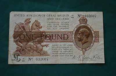 One Pound N K Warren Fisher Treasury Banknote A1 69 033607 Feb 1923? SEE PHOTOS!