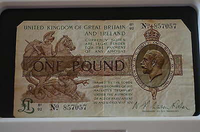 One Pound N K Warren Fisher Treasury Banknote B1 92 857057 Feb 1923? SEE PHOTOS!
