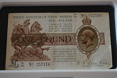 One Pound N K Warren Fisher Treasury Banknote B1 45 257716 Feb 1923? SEE PHOTOS!