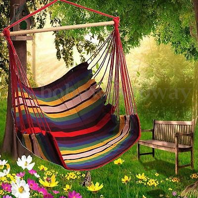 Cotton Rope Swing Chair Seat Hammock Swinging Wood Garden Patio Hanging Fabric