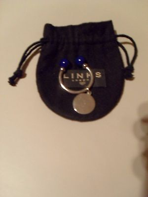 LINKS OF LONDON ROUND DISC U KEYRING BLUE BALL FINIALS  POUCH  925 SILVER 16.67g