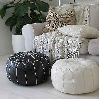 PAIR (2) Stunning Moroccan Leather Ottoman Pouffe Pouf Footstool Black + White