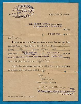 Wwi Notification Of Wound To C. H. Alford 11Th Bn. London Regt. Finsbury Rifles