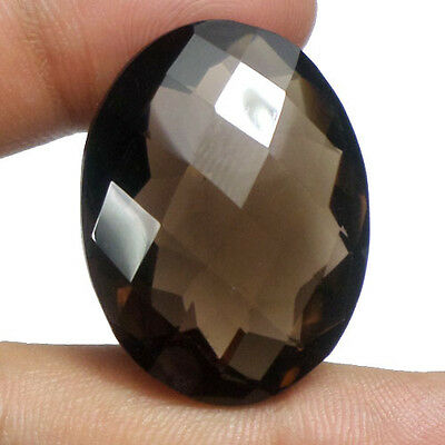 65.95 Ct Natural Oval Checker Cut Untreated Brown Smoky Quartz Loose Gemstone