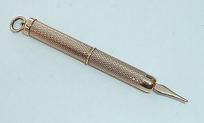 Fine Vintage Engine Turned 9Ct Gold Propelling Toothpick W.m Fully Hallmarked