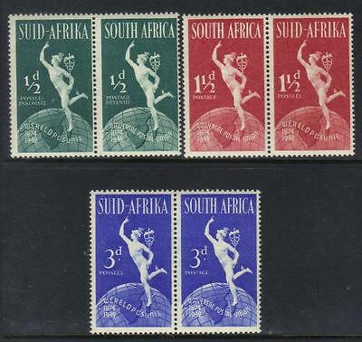SOUTH AFRICA 1949 75th ANNIV UPU U/M PAIRS