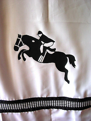 Jumper Horse Thoroughbred White Shower Curtain w/ Black horses and check ribbons