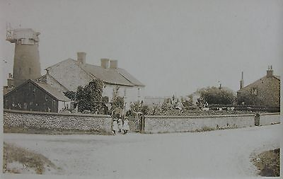 Edwardian Tots By Gate & Old Windmill Somerton Suffolk Early Rp Pc