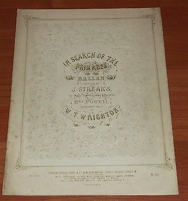 Victorian Pictorial Sheet Music..in Search Of The Primrose. Ballad.
