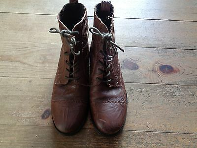 Mens Brown Leather Red Herring Ankle Boots Size 9