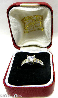 Sterling Silver & Heart Cz Stone Ring Size Uk 'n' Excellent Condition Valentine