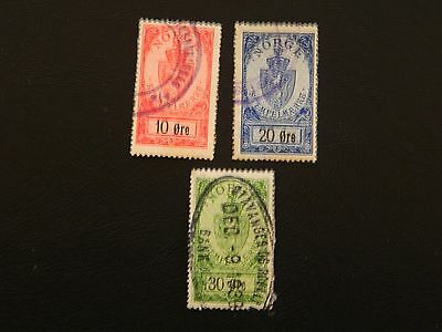 Norway Stamp 3 Fiscal Documentary GU issued 1916/1939.