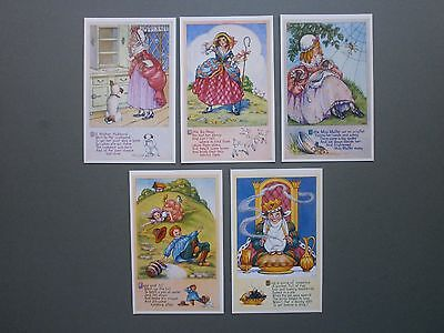 5 X 1970's Nursery Rhyme Cards By Millicent Sowerby - Salmon Published