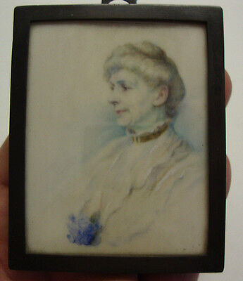 Antique portrait miniature of older lady in brass frame