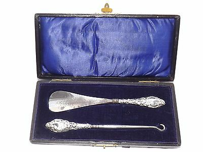 Antique Art Nouveau Sold Silver Handle Button Hook & Shoe Horn Set Cased Bm 1916