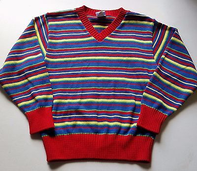 Boys KELLY'S KIDS boutique sweater L 7-8 NEW cotton blue red yellow striped