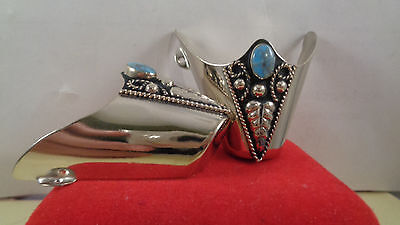 Boot Flat Tips Set Silver Tone  Fancy With Blue Stone 3 Dots  Southwestern  Set