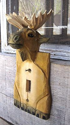 Vintage Hand Carved Wooden Moose Switch Plate Cover Home & Garden Light Parts