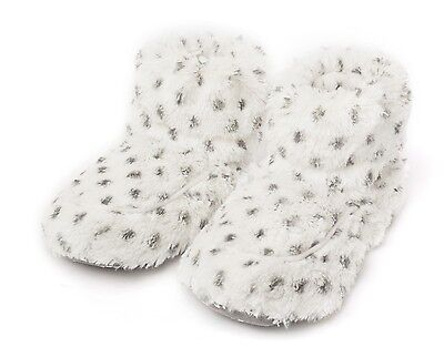 Intelex Cozy Boots Snowy White Heatable Microwavable Furry Bed Warmer Slippers