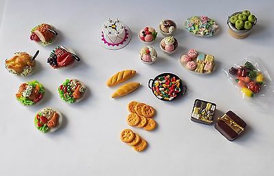 Three Boxed Sets Hickleton Dolls House Food.dinners,cakes,fruit,bread.1:12 Scale