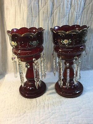 Pair Antique Red Ruby Cranberry Glass Lustres Hand Painted Flowers Decoration