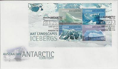 AAT 2011 Landscapes Icebergs  mini sheet First day cover
