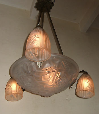 Rare Antique French Art Deco  Chandelier Ceiling Light All Good Signed Degue