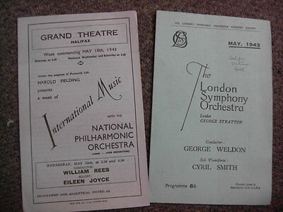 Wartime Programmes 1943 Halifax Yorkshire London Symphony Philharmonic Orchestra