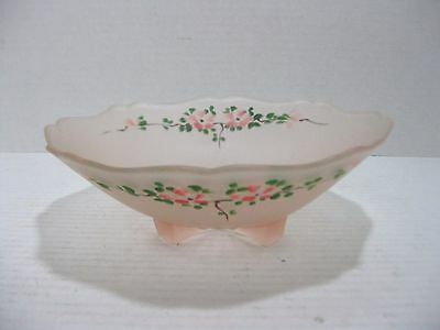 Vintage Frosted Pink Depression Footed Glass Bowl Hand Painted Flowers
