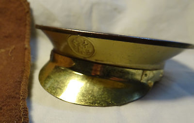 WWII Sweetheart Powder Compact US Army Gold Tone Visored Hat Shape in Pouch
