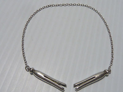 Sterling Silver Clothes Pin Bib Or Sweater Clips On Silver Chain
