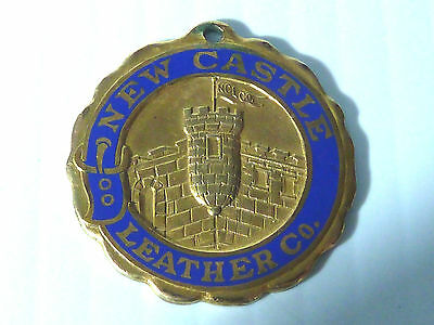 """new Castle Leather Co."" 1916 Gold Plated Pendant/fob, Blue Enamel"
