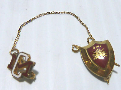"""Gold Filled """"bmi"""" Pin On Red Enamel W/ Sword Behind Shield, Bordentown Mil. Inst"""