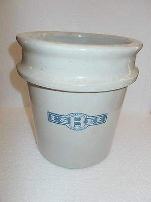 "Antique Vintage 1 Gallon Salt Glazed Honey Crock ""RARE"" Advertising Cobalt Decor"