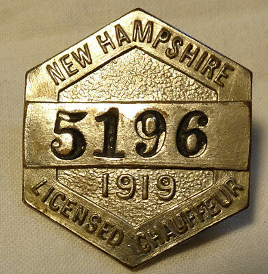 Vintage 1919 New Hampshire Licensed Chauffeur Pin Badge no 5196 W & H Co