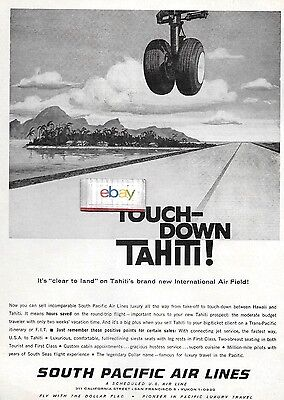 South Pacific Airlines 1960 Constellations Now Touch Down Tahiti New Airport Ad