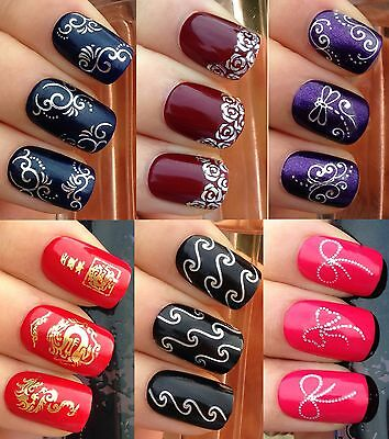 Nail Art Stickers Water Transfers Decals Gold Dragon Silver Bow Rose Dragonfly