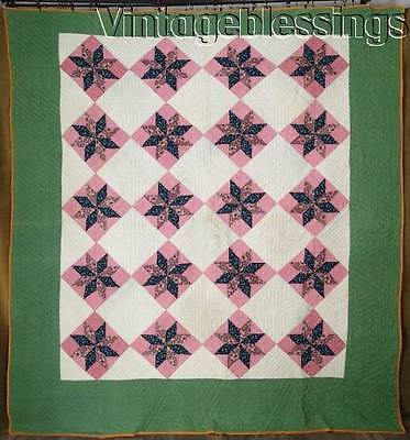 "19th Century ANTIQUE Stars QUILT 89x84"" Double Pink Green Blue Cheddar"