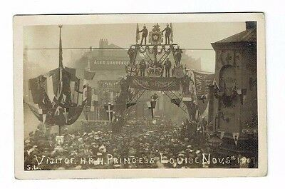 Old Postcard Firemens Arch Leicester Visit Of Princess Louise Real Photo 1908
