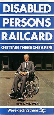 British Rail Disabled Persons Railcard - May 1985 - Unmarked - Railway