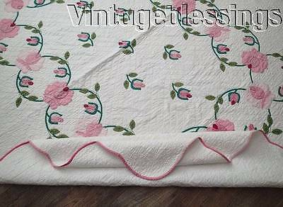 "Romantic Pink Roses Applique Pink & Green VINTAGE QUILT 87"" x 72"""
