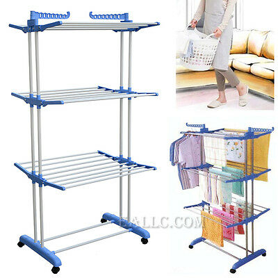 Foldable Folding Larger 3 Layer Clothes Airer Hanger Dryer Stand Rack Indoor NEW