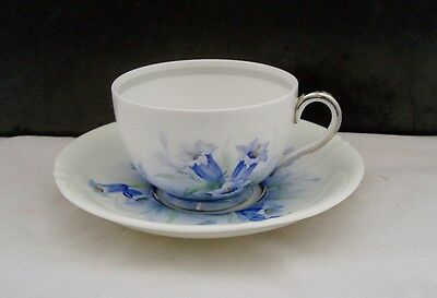 ROYAL WORCESTER ART DECO 1930s HANDPAINTED 'HAREBELL' CABINET CUP & SAUCER